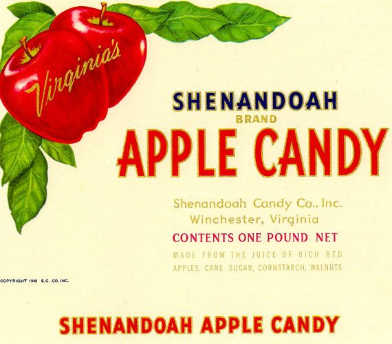 Vintage Original Shenandoah Brand Apple Candy Label