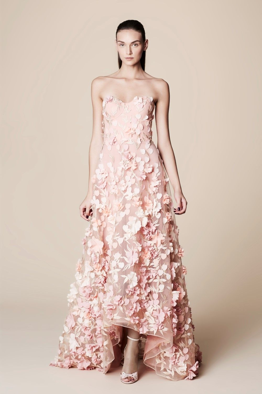 Marchesa Notte Strapless 3D Floral Petal Hi-Lo Gown N10G0242 ...