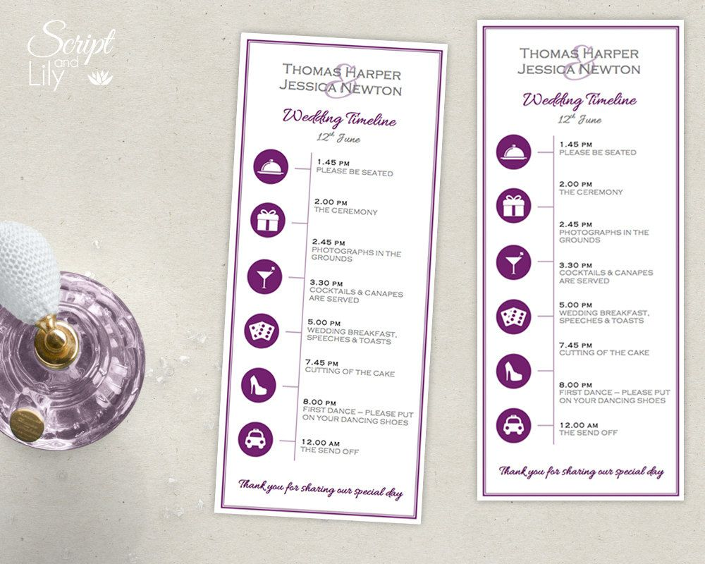 Bridal Shower Timeline Printable template with icons