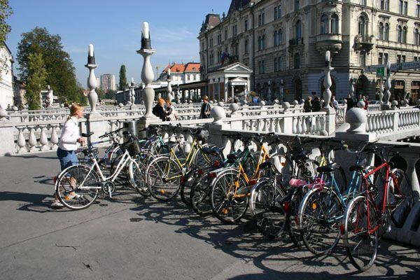 Bikes at the bridge - Ljubljana, Slovenia