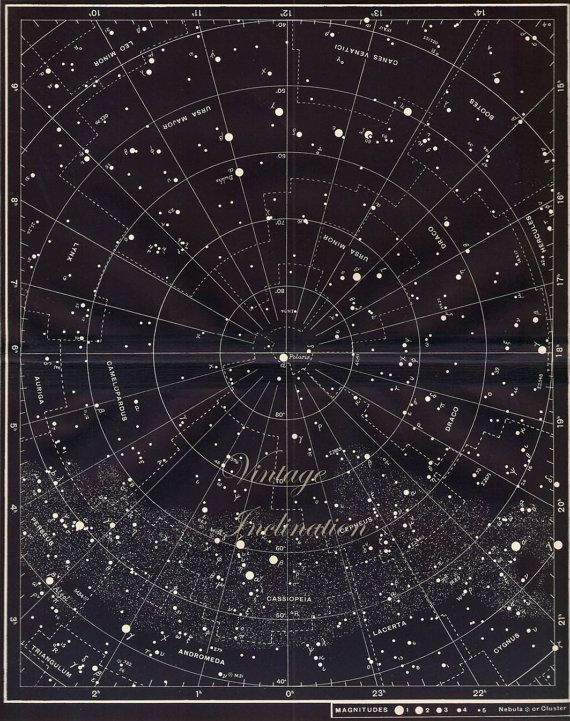 Vintage Constellation Map Large Star Chart Original 1950