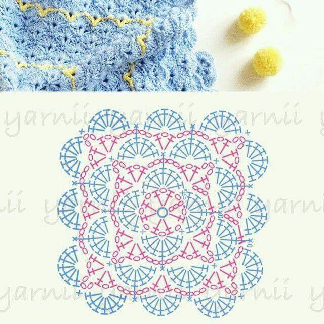 Crochet square with shell / fan motif, chart | Crochet Stitches and ...
