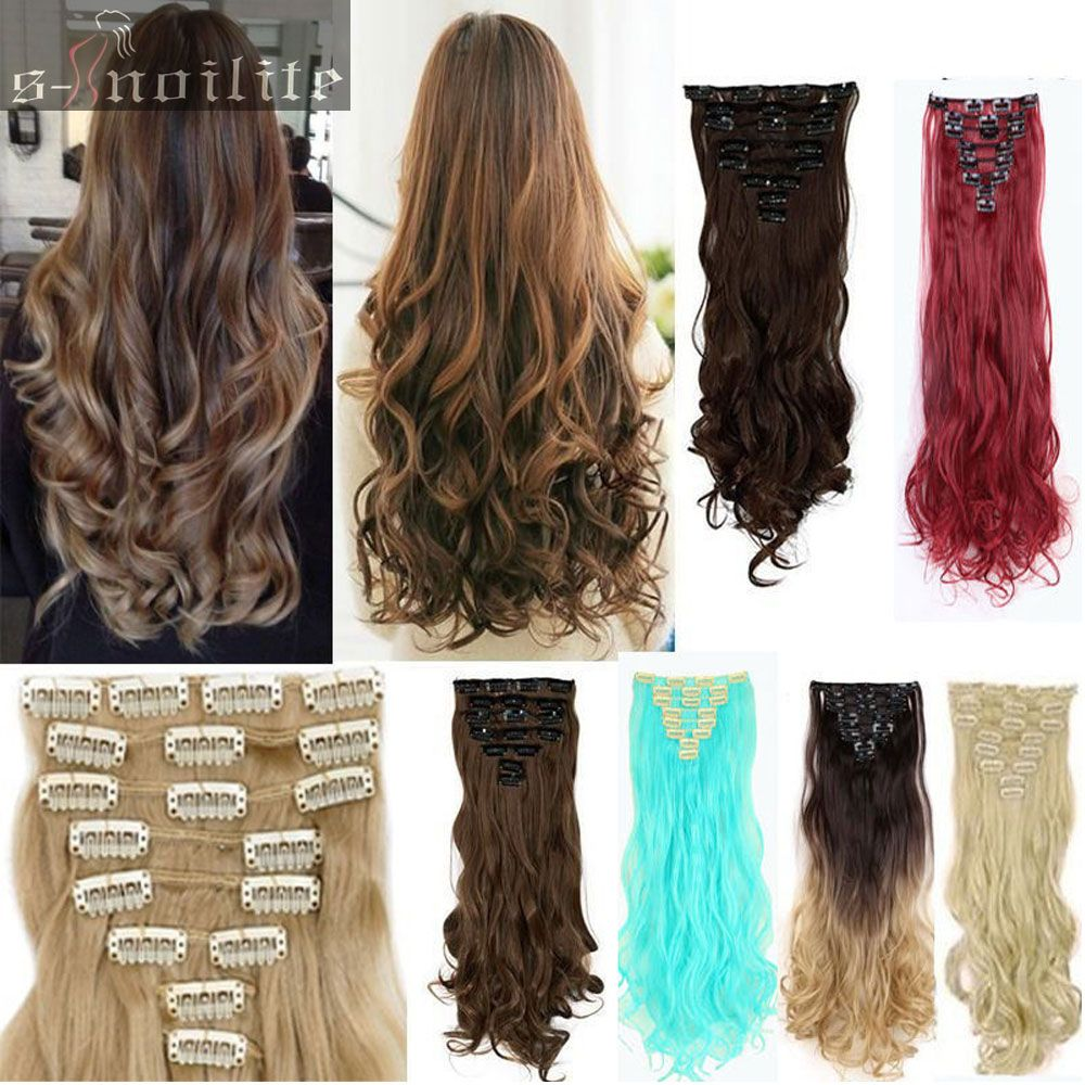 60cm Curlywavy Real Thick Full Head Clip In Hair Extensions Piece 8