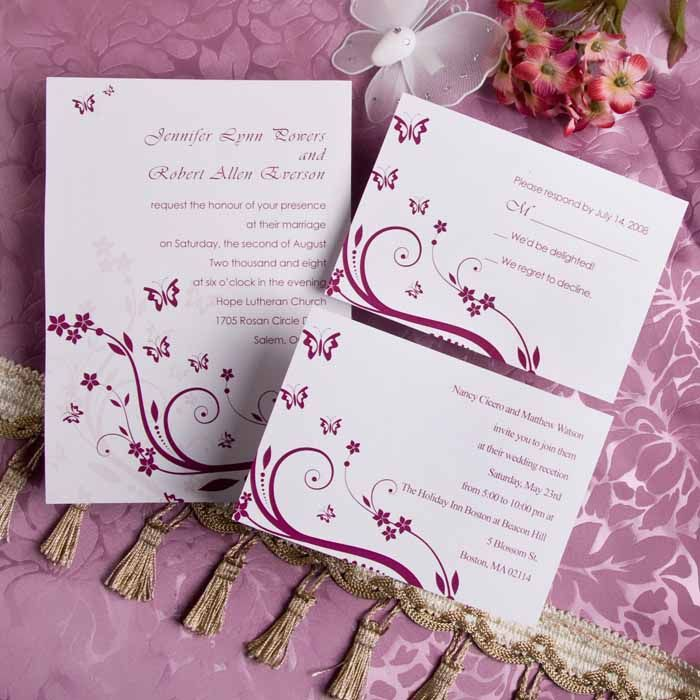Romantic Rose Pink Butterfly Wedding Invitations IWI005  Wedding - wedding invitation samples australia