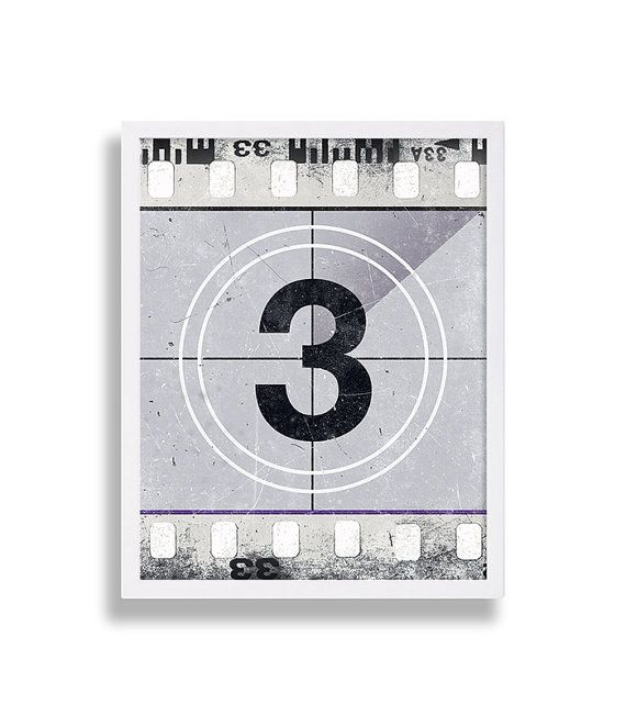 Old Film Reel Art Print Old Movie Count Down Screen Shot Home Decor Movie Room Retro Print