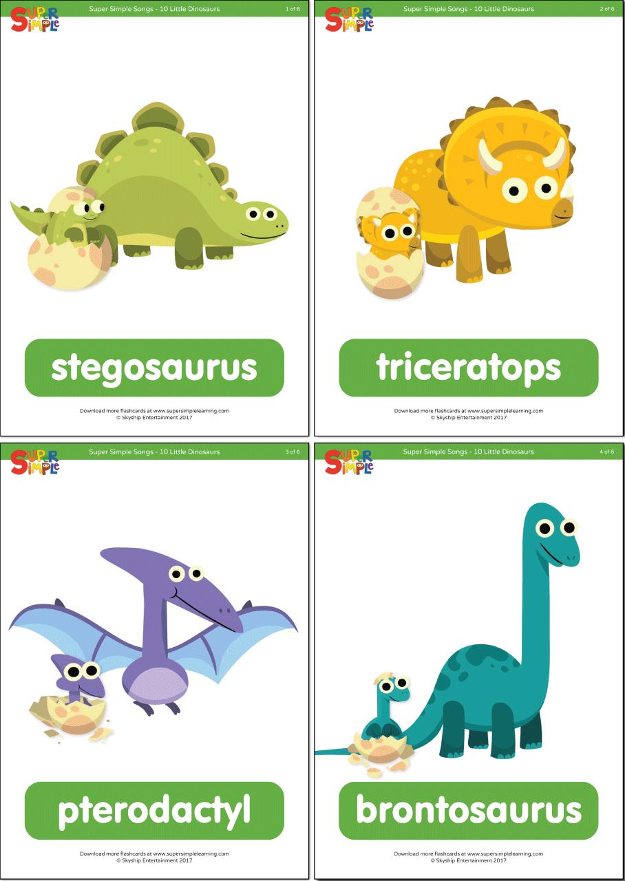 10 Little Dinosaurs Flashcards   Super Simple   dinosaurs   Pinterest