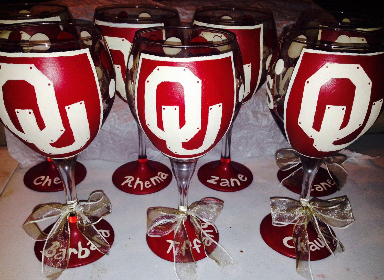 University Of Oklahoma Sooners Wine Glass Hand Painted Sooners Glasses Oklahoma Sooners Boomers Glasses Hand Painted Glass Painting University Of Oklahoma
