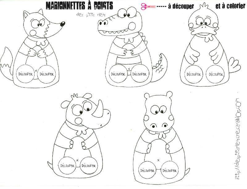 marionnettes doigts animaux colorier paper craft. Black Bedroom Furniture Sets. Home Design Ideas