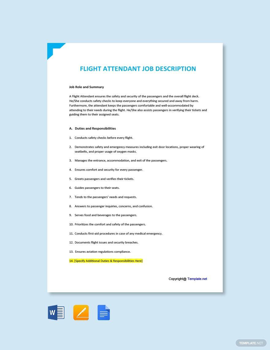 Free Flight Attendant Job Description Template in 2020