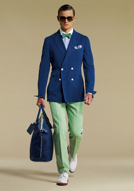 Navy double breasted jacket with bow-tie and mint green chinos ...