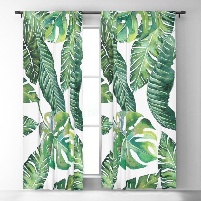 Jungle Leaves Banana Monstera Society6 Blackout Curtain With