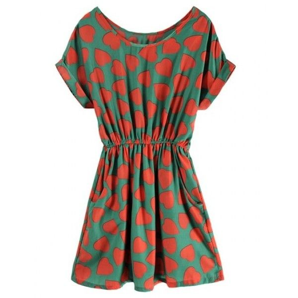 Green Short Sleeve Round Neck Heart-shaped Print Dress ($36) ❤ liked on Polyvore