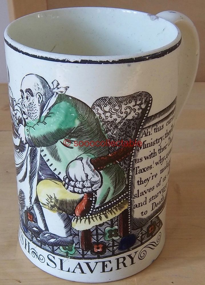 antique c1792 ENGLISH CREAMWARE satirical BRITISH SLAVERY TANKARD james gillray in Pottery, Porcelain & Glass, Date-Lined Ceramics, Pre-c.1840 | eBay