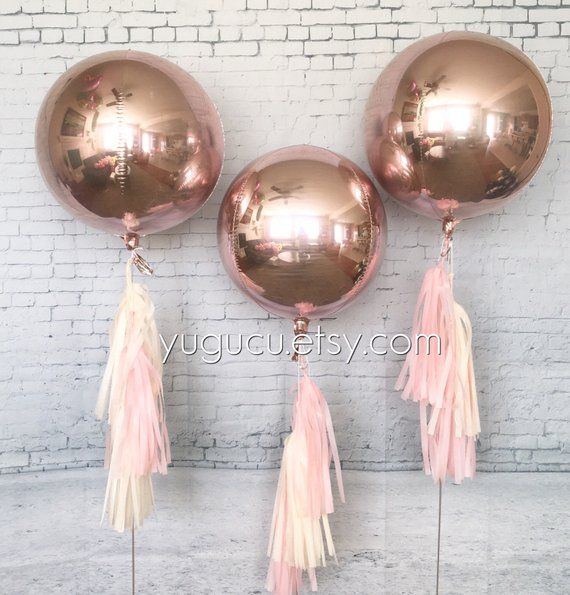 Metallic Rose Gold Round 16 Foil Balloons with tassel, Rose Gold Decor, Baby Shower, It's a Girl, Bachelorette Party, Sweet Sixteen #sweetsixteen