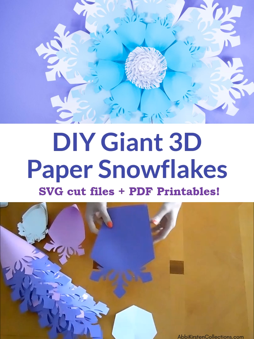 Create your own 3D giant paper snowflakes for Holiday decor. Use your Cricut machine for this fun Christmas craft. SVG cut files and PDF printables included!