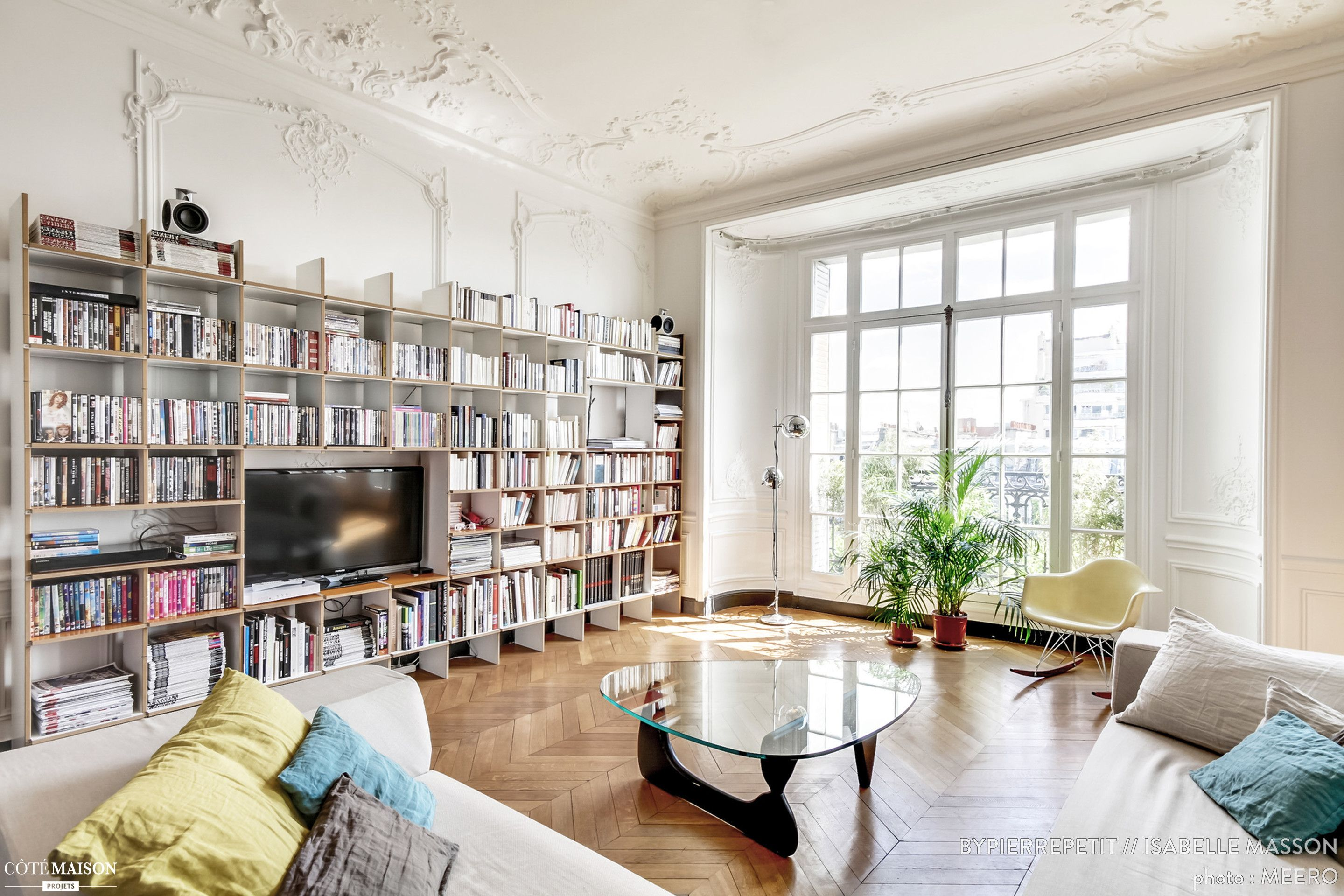 R Novation D Un Appartement Haussmannien Dans Le Centre De Paris  # Bibliotheque Pour Le Salon