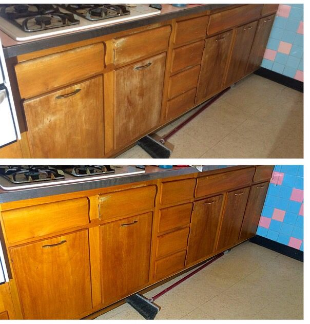 Before and after. I used Watco Rejuvenating Oil | Kitchen ...