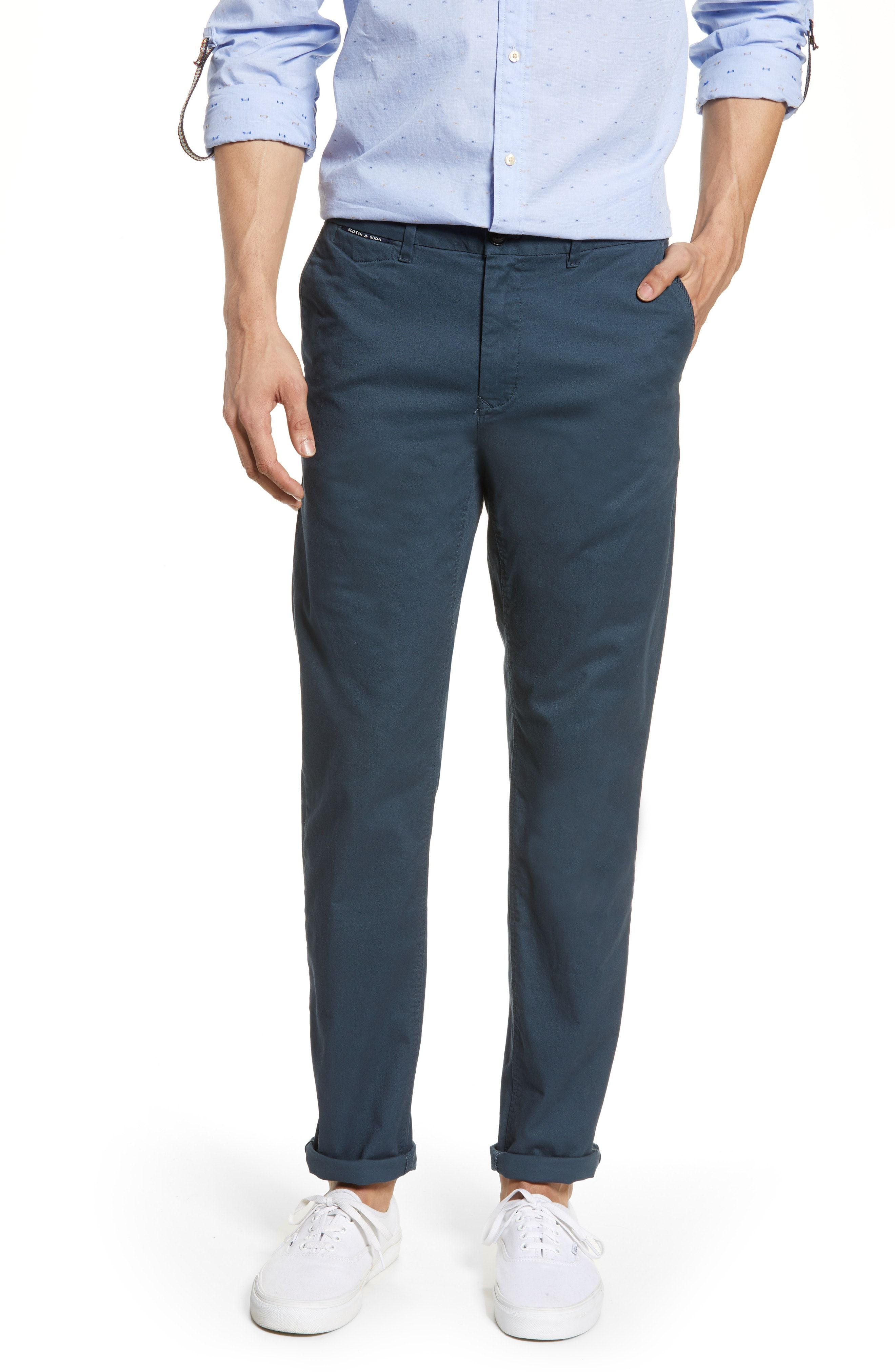 Mott Classic Fit Stretch Cotton Pants In Steel Cotton Pants Stretch Cotton Pants