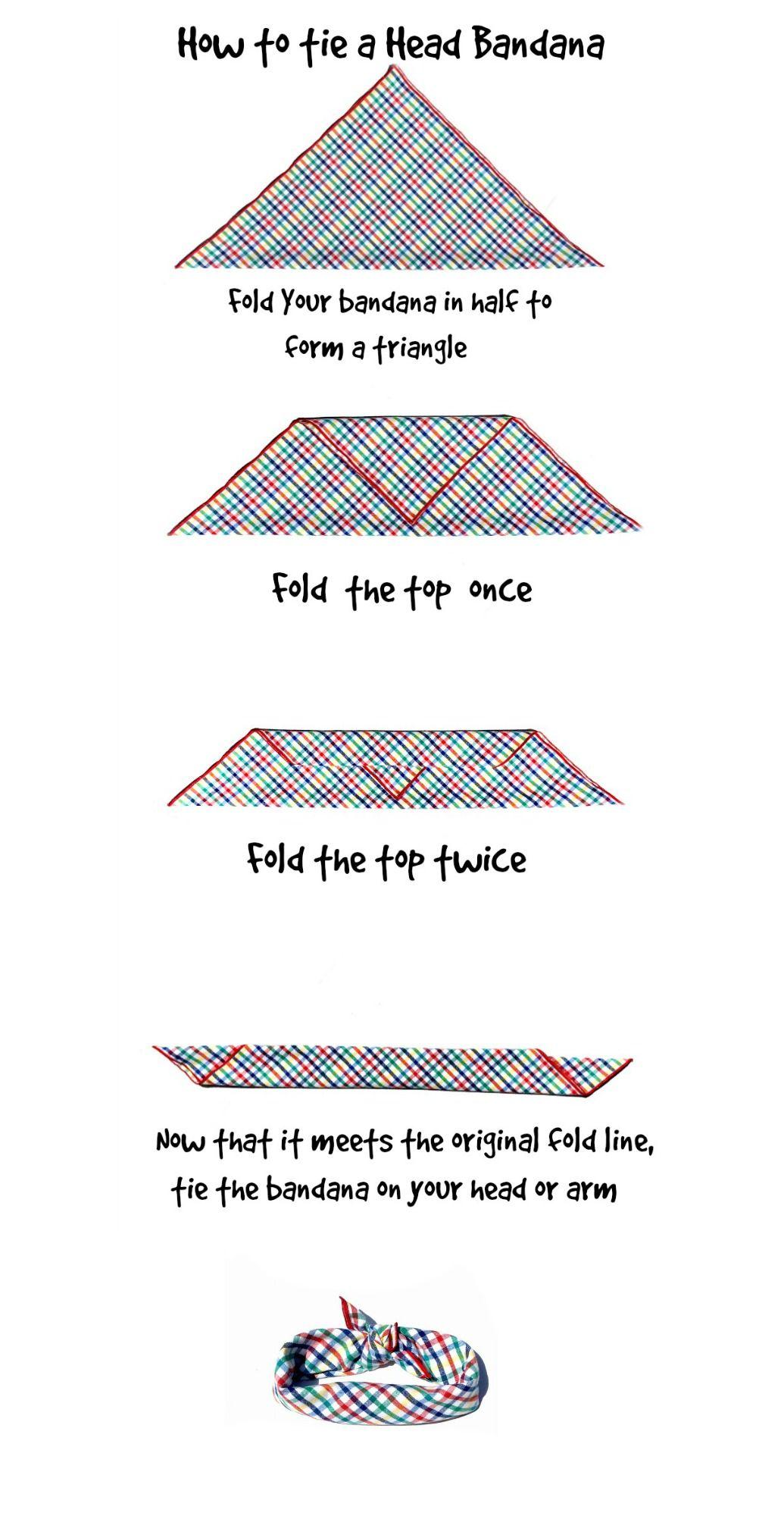 How to tie a head or arm bandana how to tie bandana