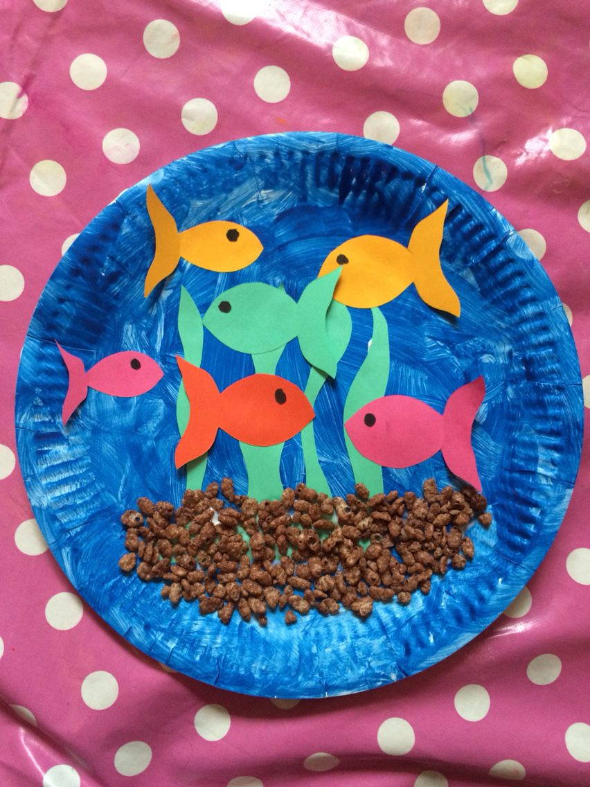 Glue paper plate paints and paper...plus coco pops make for a great fish tank  sc 1 st  Pinterest & Glue paper plate paints and paper...plus coco pops make for a ...