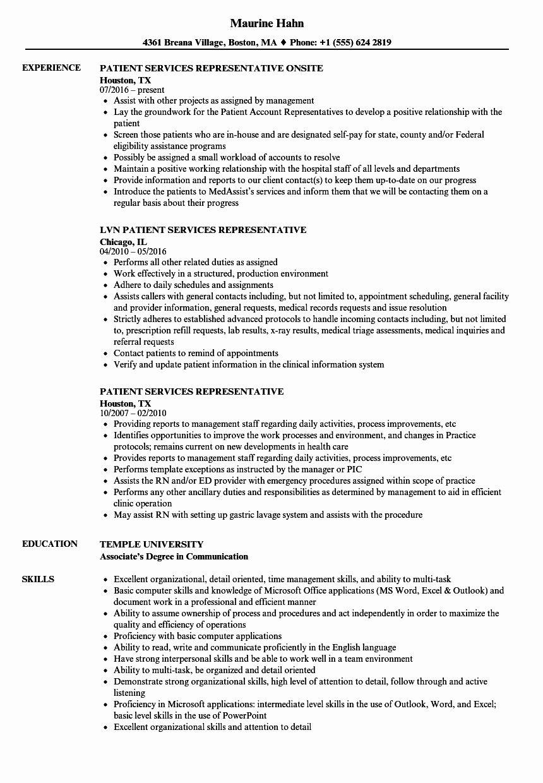 patient service resume