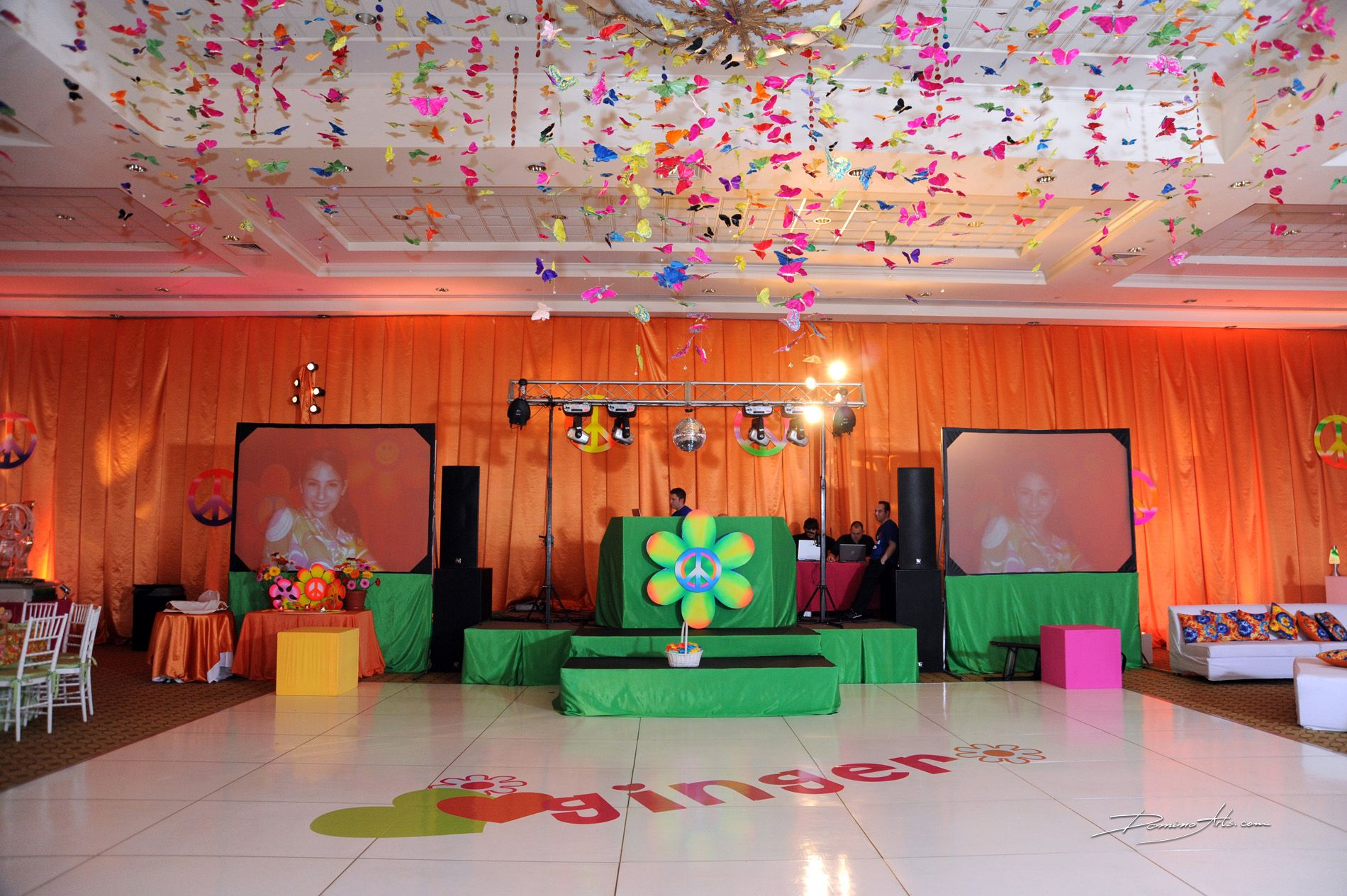 Dance Floor And Stage With Tie Dye Ceiling Treatments 70stheme Tiedye Peace Love Peacesign Linzievents