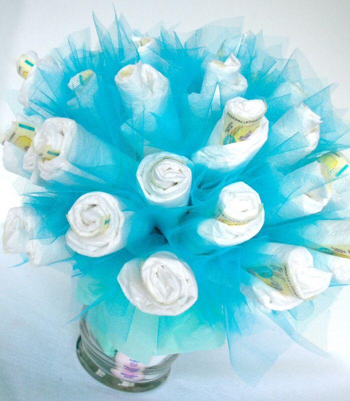 Blue floral diaper arrangement I made
