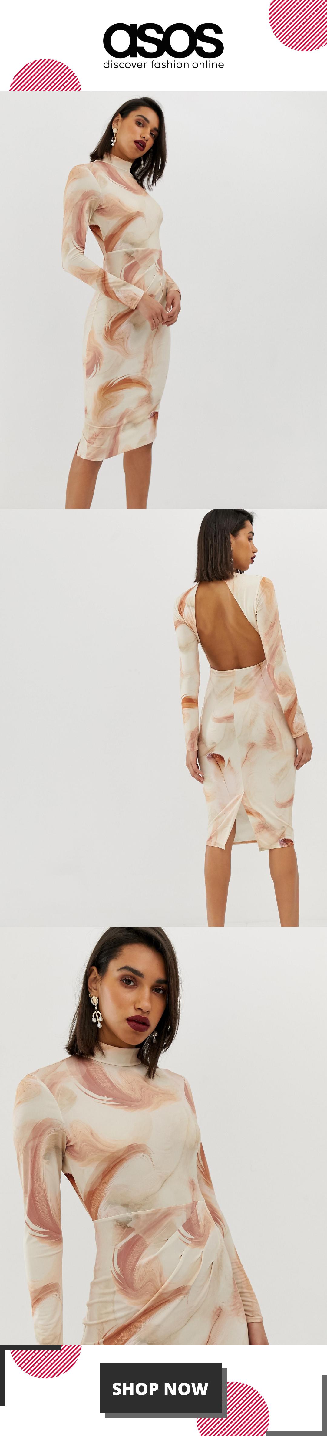 ASOS DESIGN Feather Print Bodycon Midi Dress