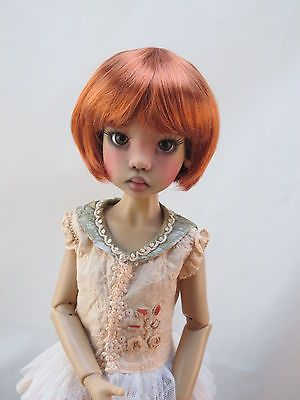 Monique BUBBLES Wig Carrot Red Size 8-9 SD BJD shown on Kaye Wiggs Hope