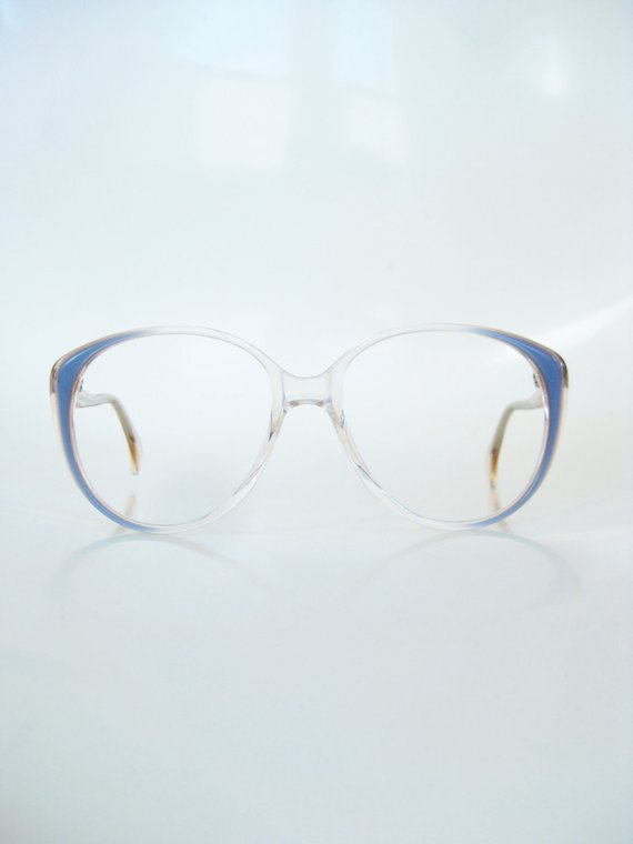 fbe6399dd5b Vintage Blue Eyeglasses Round P3 1960s Glasses Clear Mid Century Modern  Optical Frames 60s Sixties D