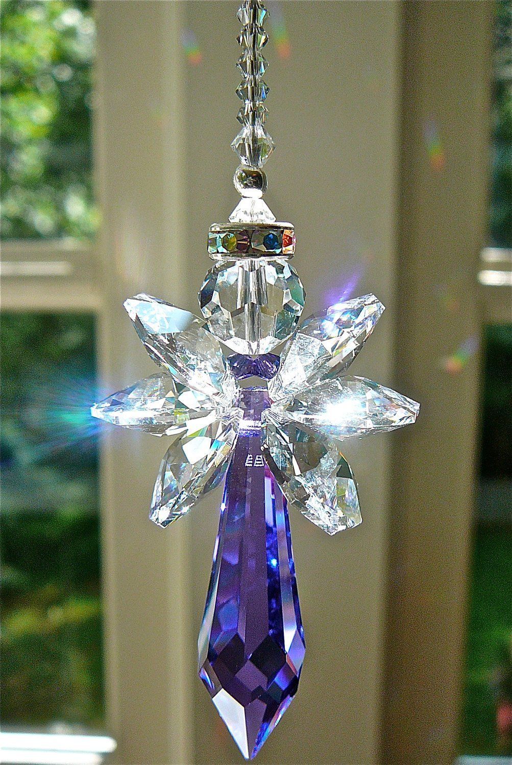 Royal Heart Crystal Suncatcher with Swarovski Crystals and Prism