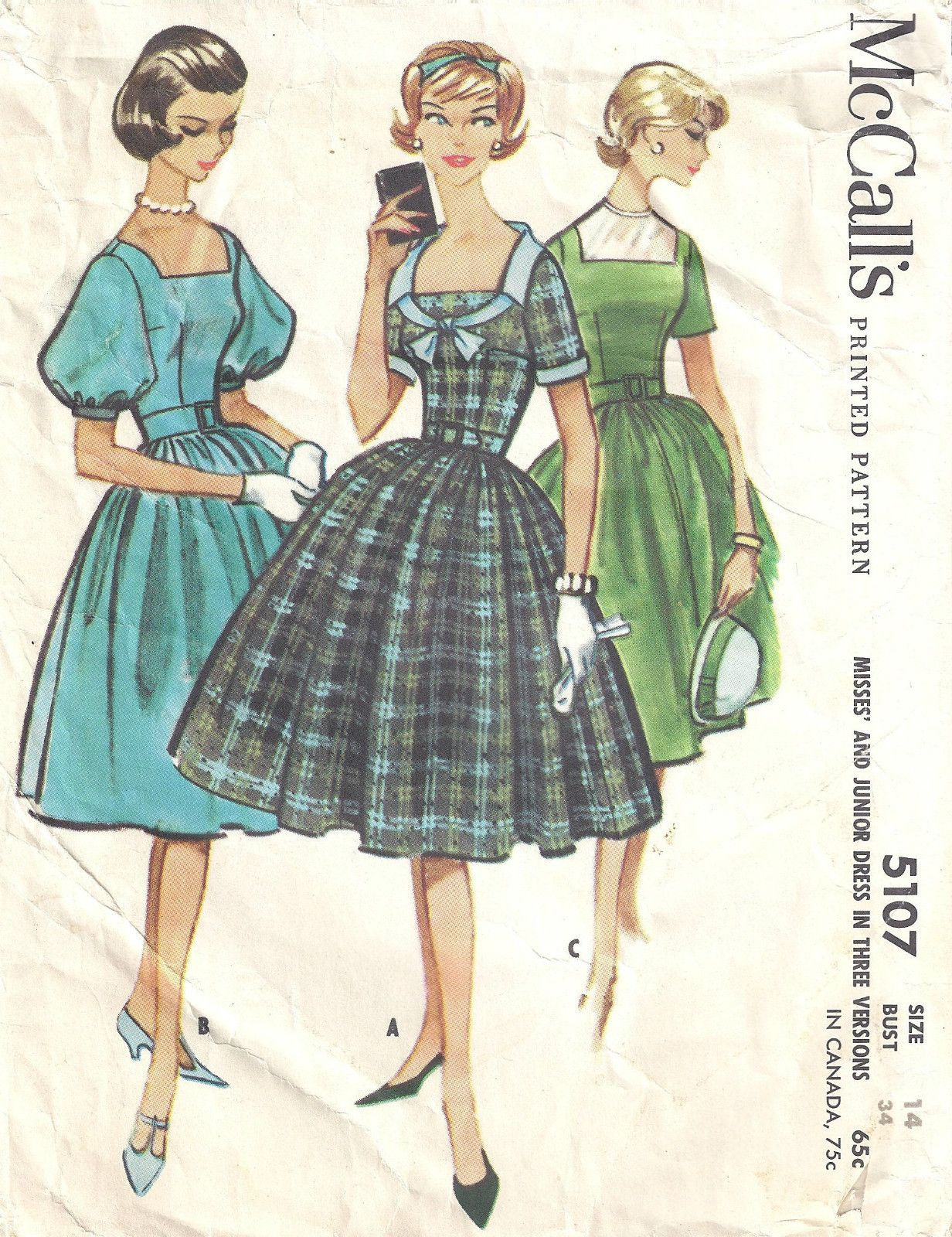 McCall's 5107: the trim on the plaid dress is gorgeous!