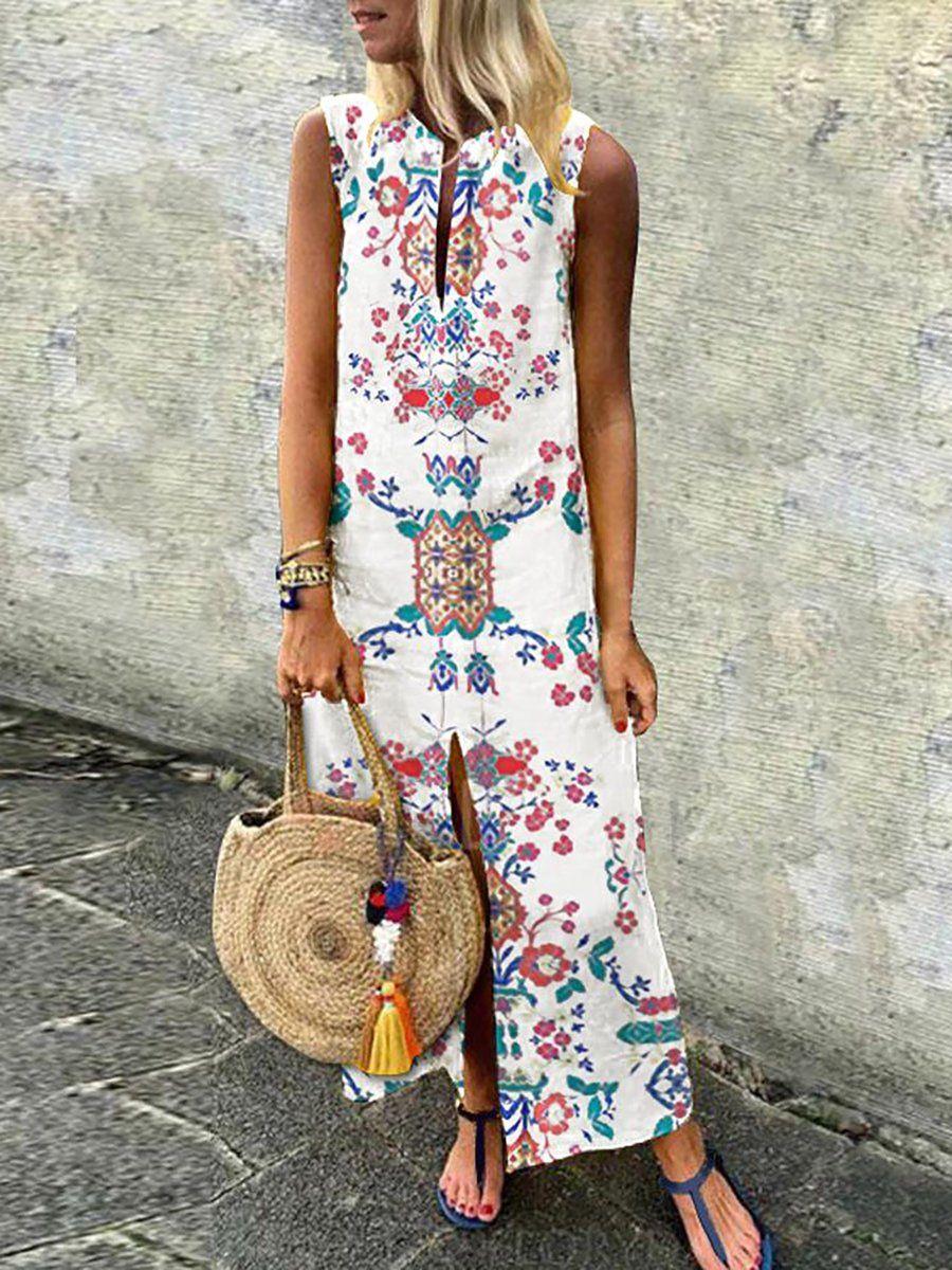 b2c62fe6009ff V neck White Women Summer Dress Daytime Sleeveless Floral Dress #dress  #date #holiday #vocation #daily #casualdress #longdress #summerdress