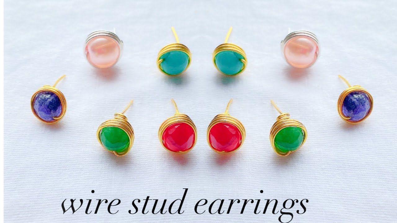 diy stud earrings/making simple wire wrapped stud earrings