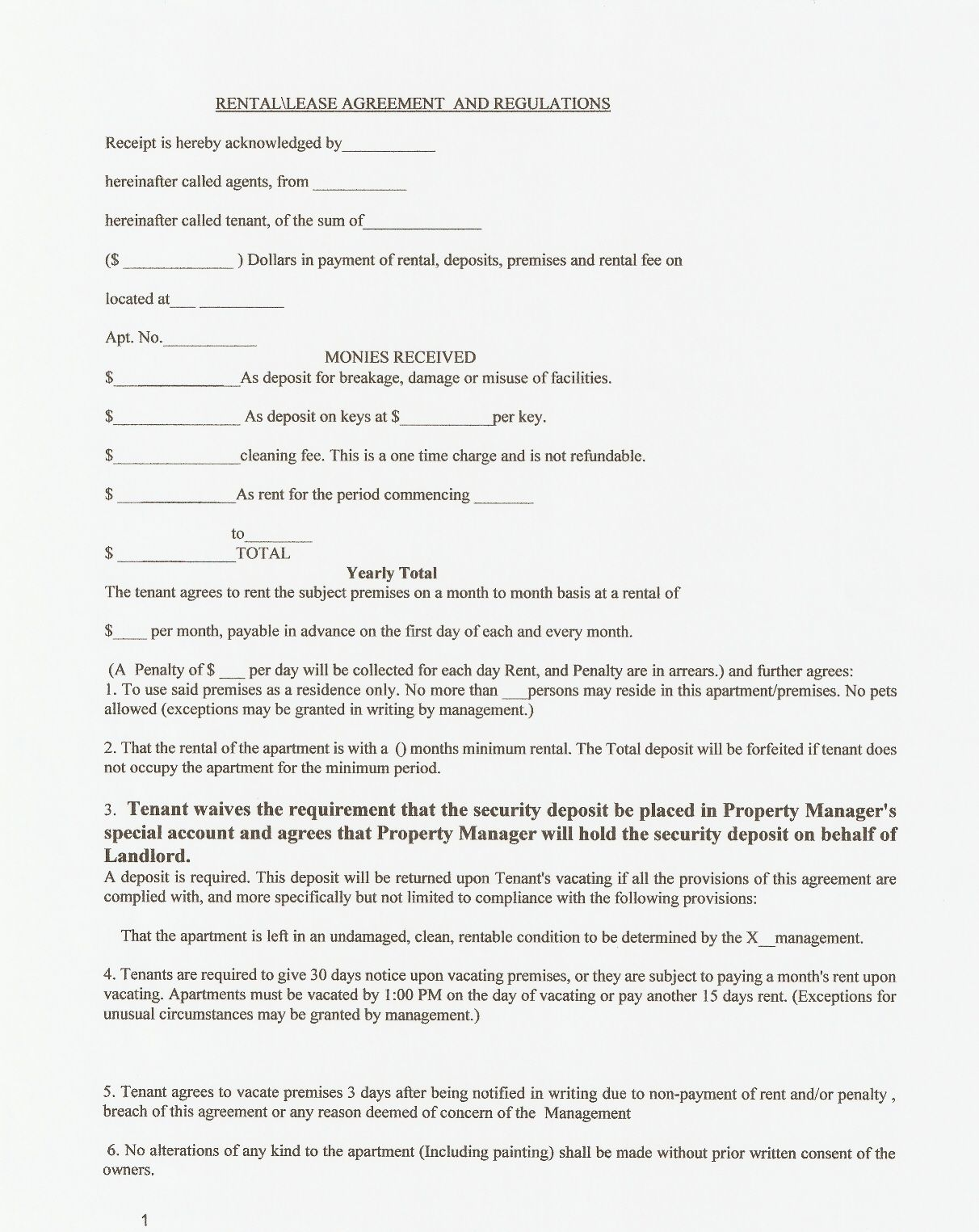 Printable Residential Free House Lease Agreement – Tenant Lease Form