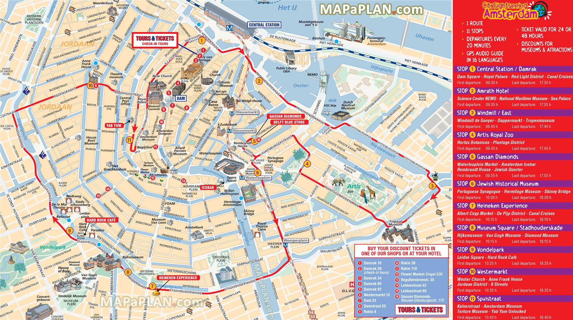 City Sightseeing Hop On Hop Off Double Decker Open Top Bus Tour - Amsterdam night bus map