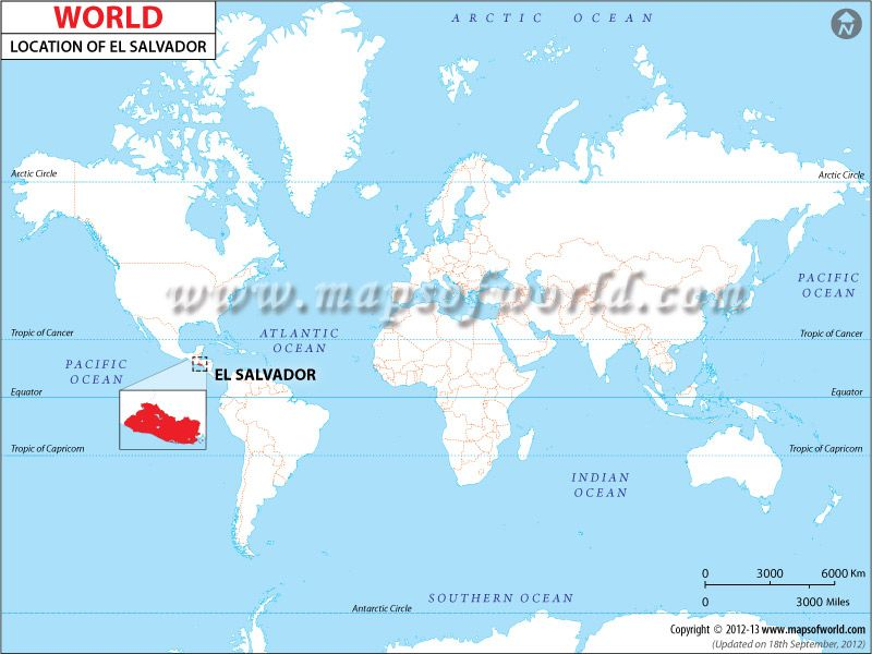 Location of El Salvador on World Map Language spoken: Spanish www ...