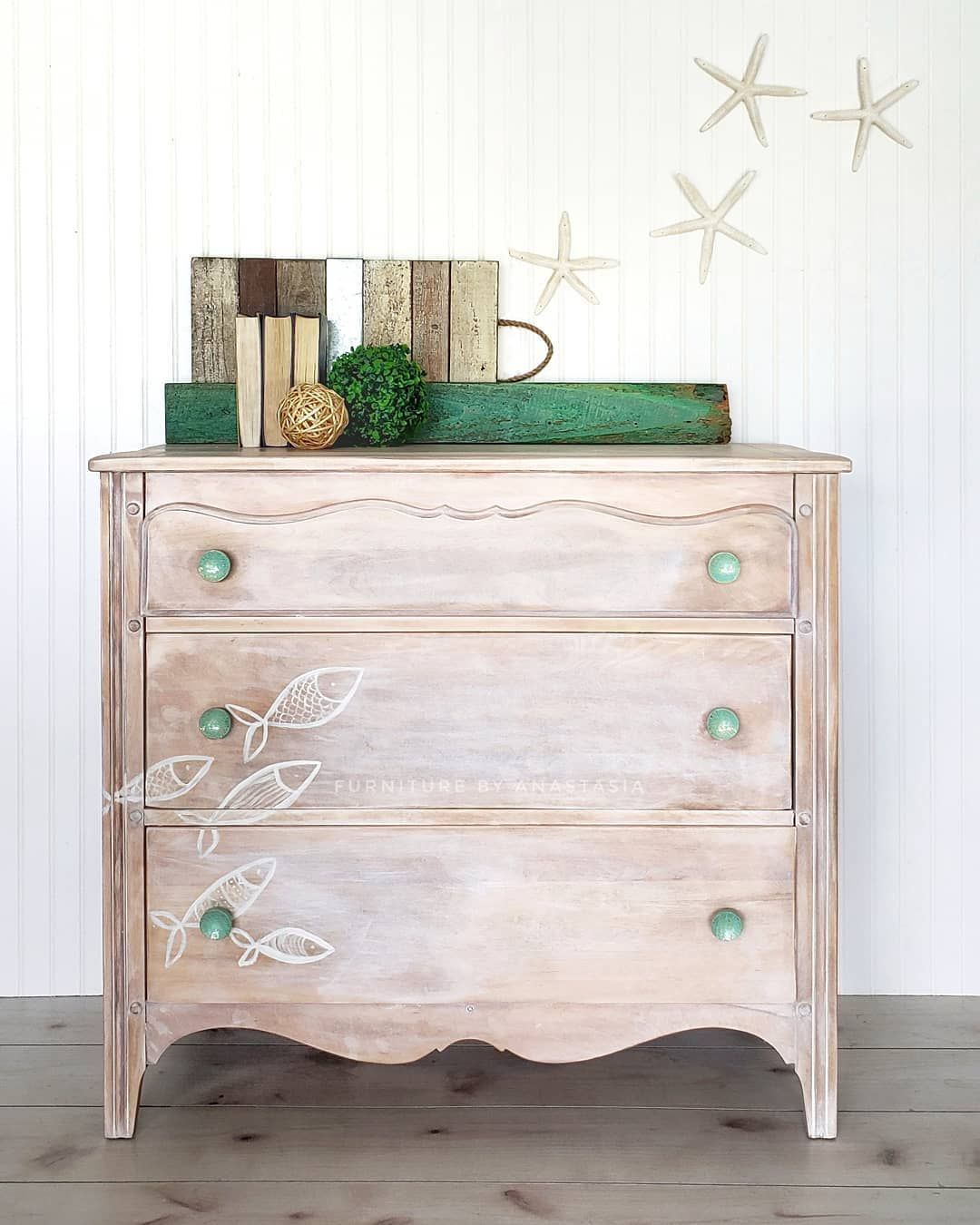 coatal dresser. natural wood with hand painted design