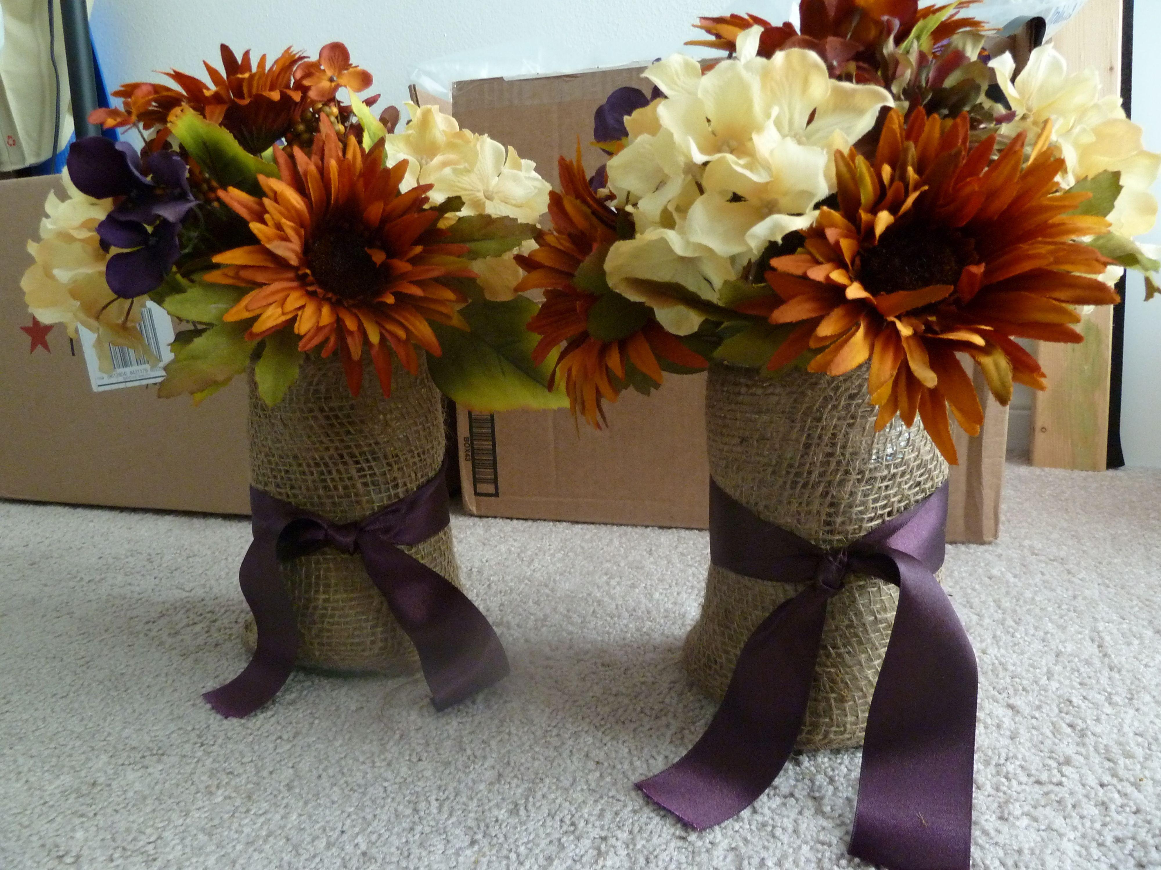 DIY Purple fall Wedding Centerpieces , Flowers & Decor