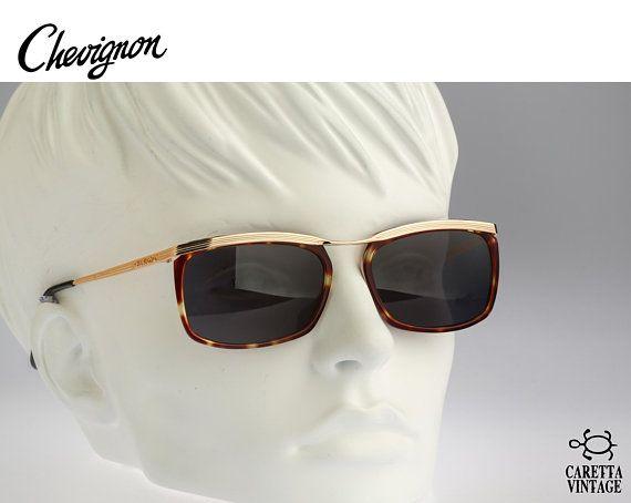 aeb239b0c69f Vintage square sunglasses, Chevignon Steel - 90s unisex rectangle combo  sunglasses / NOS