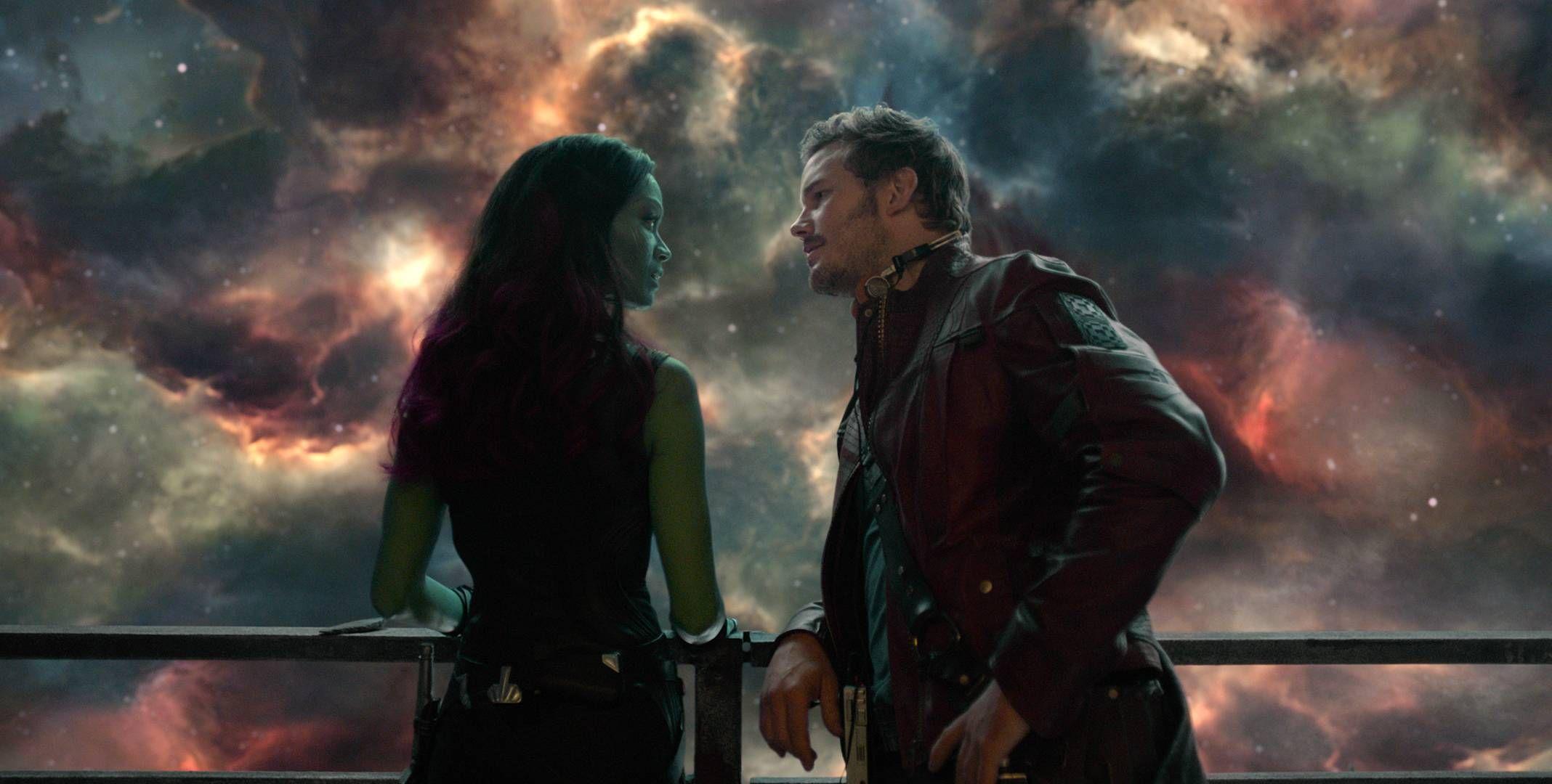 "Zoe Saldana, Chris Pratt in ""Guardians of the Galaxy"" (James Gunn, 2014) | Guardians of the galaxy, Gamora, Star lord"