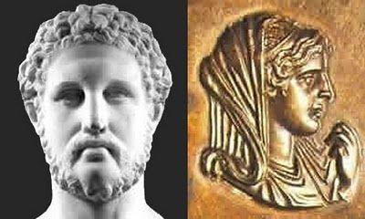 Informacion sobre la historia de la familia de La Reina Olimpia tanto de ella como del rey Felípo