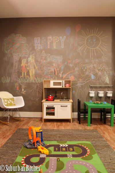 basement play area with custom colored chalkboard wall // suburban bitches