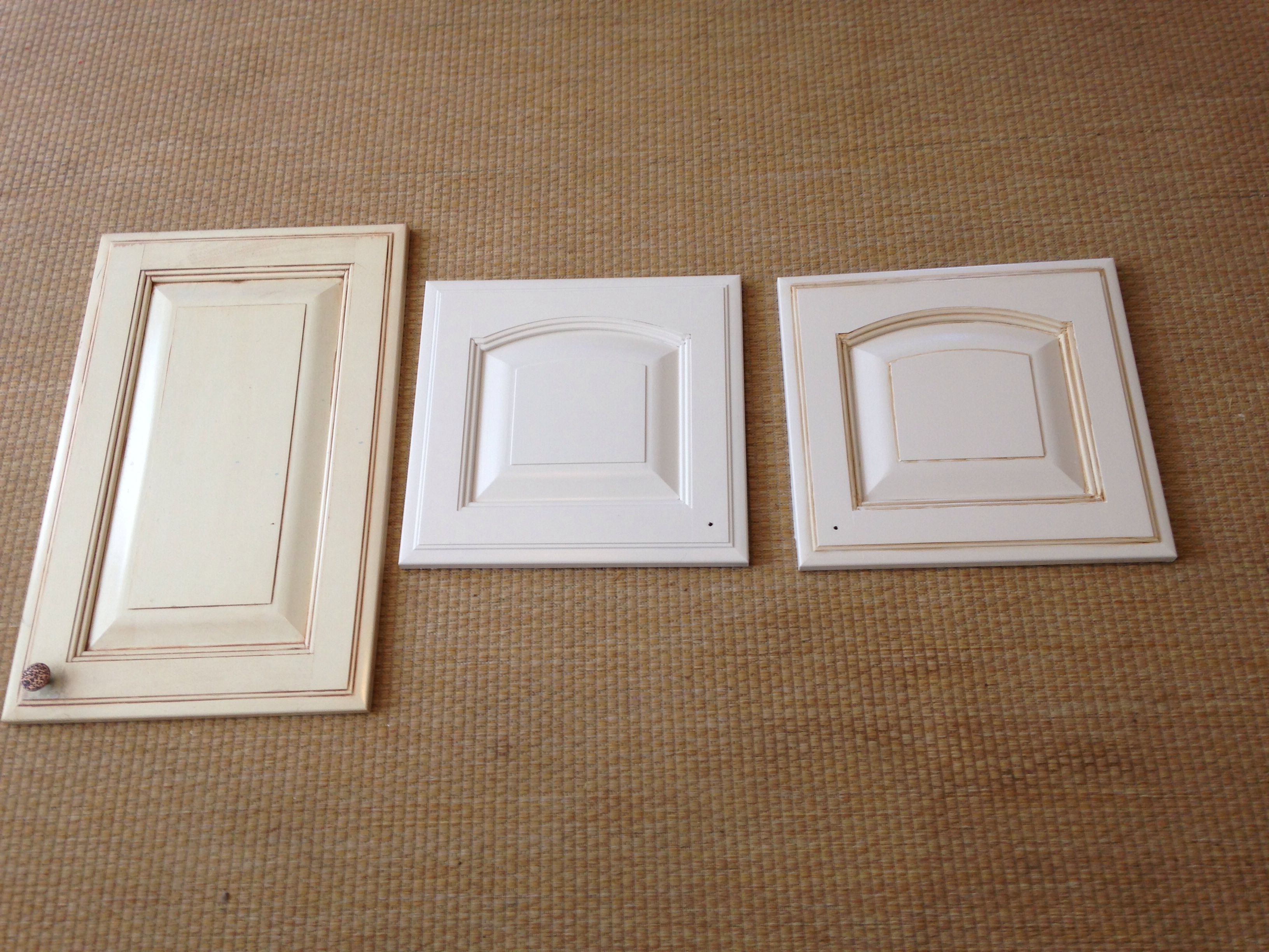 Rustoleum cabinet refinish before with quilters white finish and