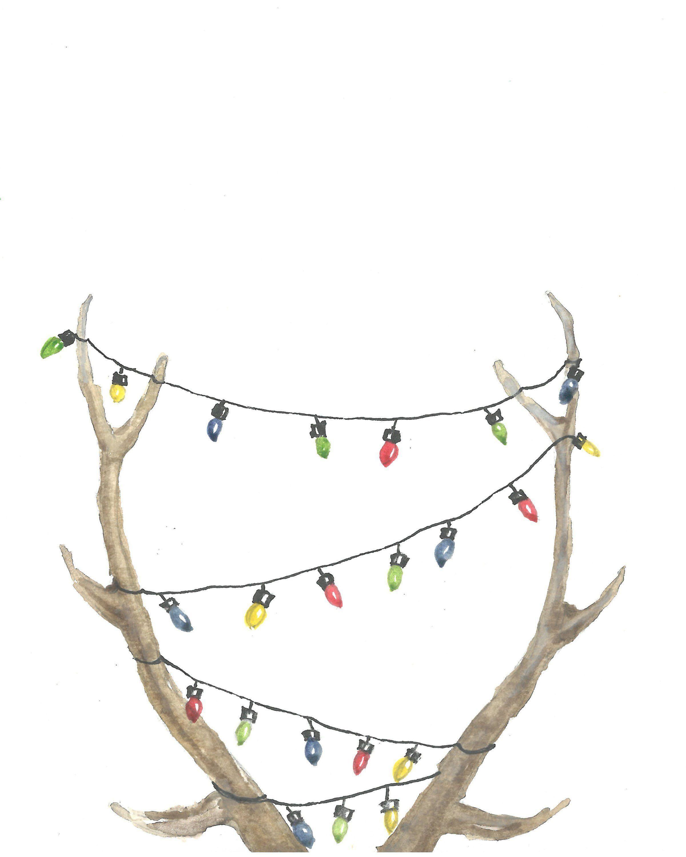 Photo of Reindeer Christmas decor,Christmas Printable Card,Wall Art,Watercolor Christmas print,Decor , Poster Sign ,Christmas Lights,weihnachtskarte