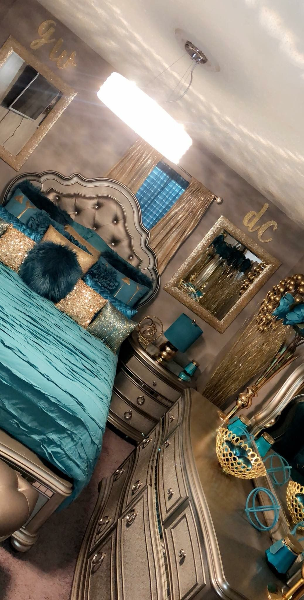 Blue And Gold Bedroom Glamourous Bedroom Luxurious Bedrooms Bedroom Decor