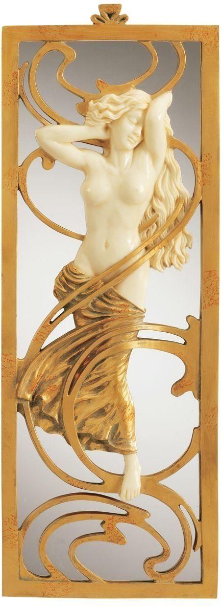 19th Century Replica Nude Female Statue Sculpture Art Nouveau Mirror ...