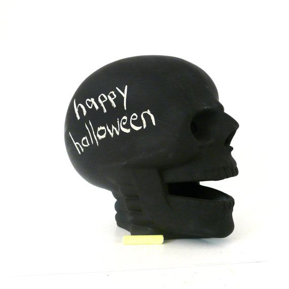 halloween, skull, chalkboard skull, skull candle holder, spooky - skull halloween decorations