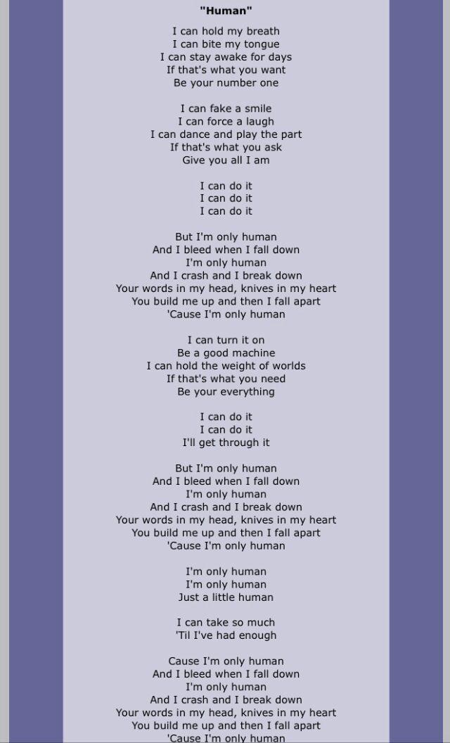 parole chanson human