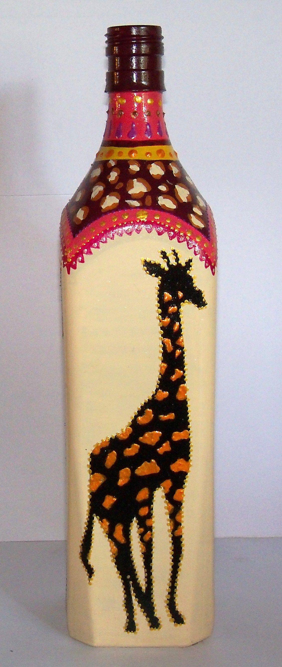 Botella pintada a mano 330 en botella pinterest - Botellas decoradas manualidades ...